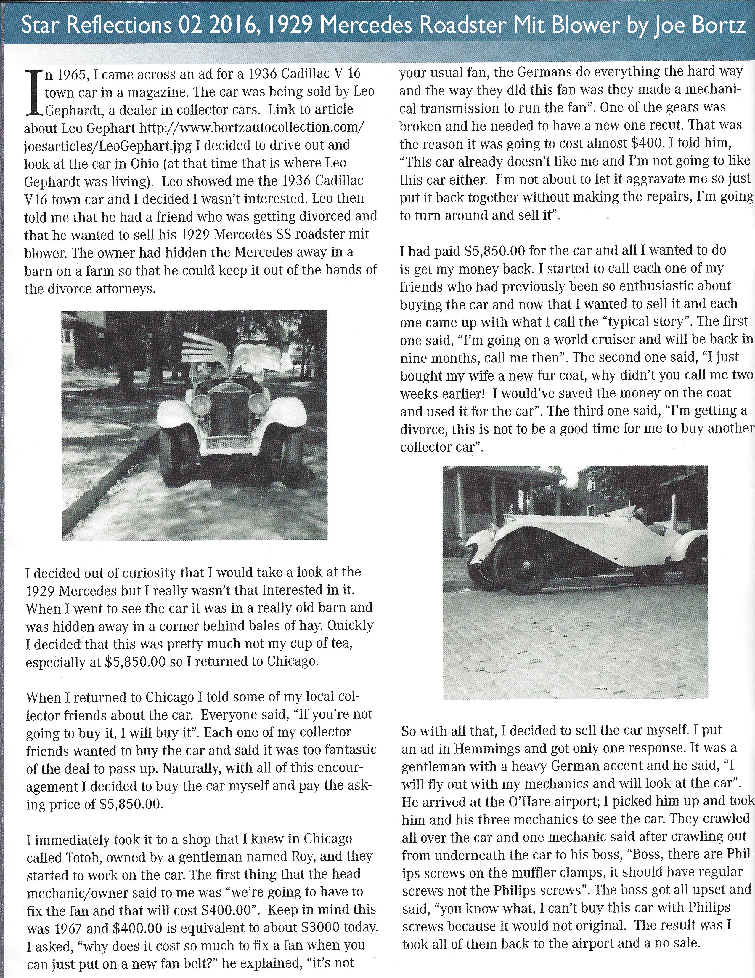 1929 Mercedes Roadster Mit Blower by Joe Bortz, Star Reflections 02 2016 p1