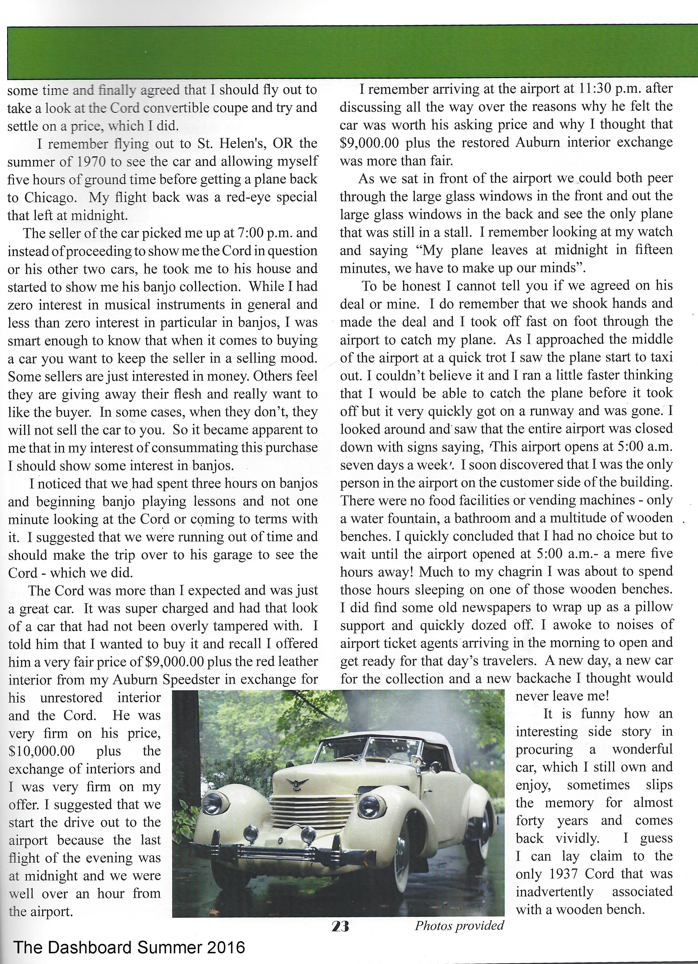 1937 cord article by Joe Bortz