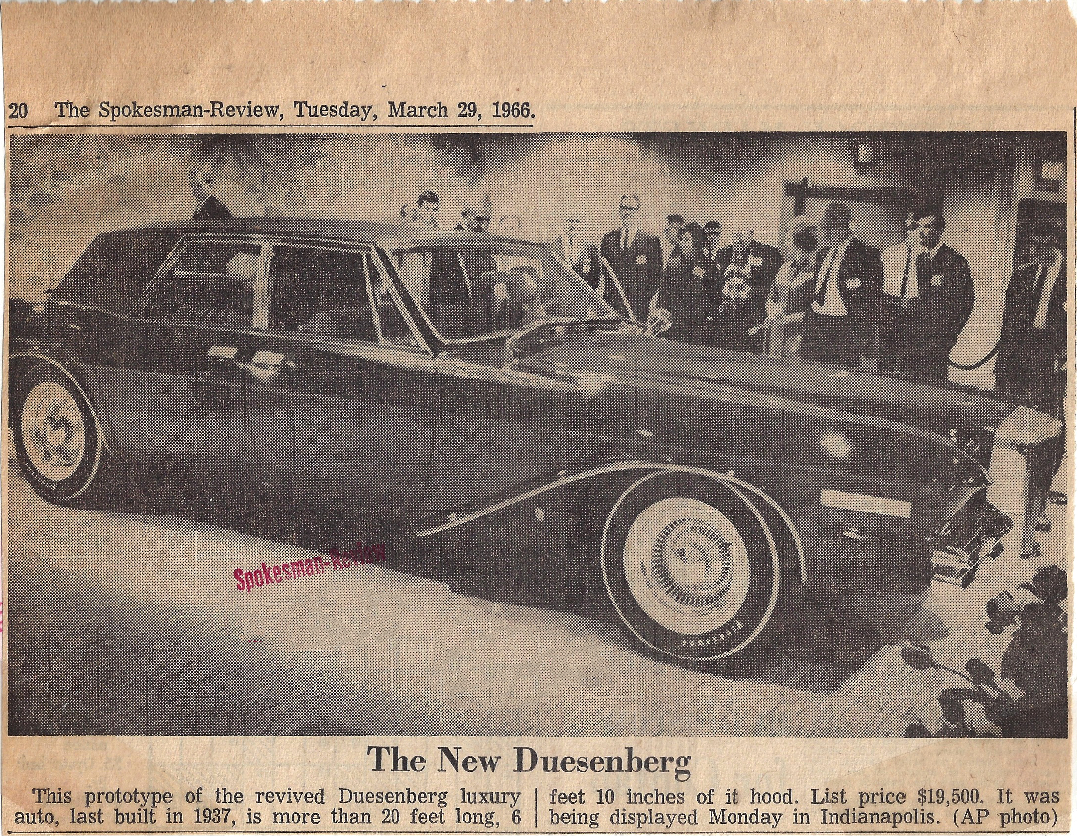 The New Duesenberg, The Spokesman-Review, March 29, 1966