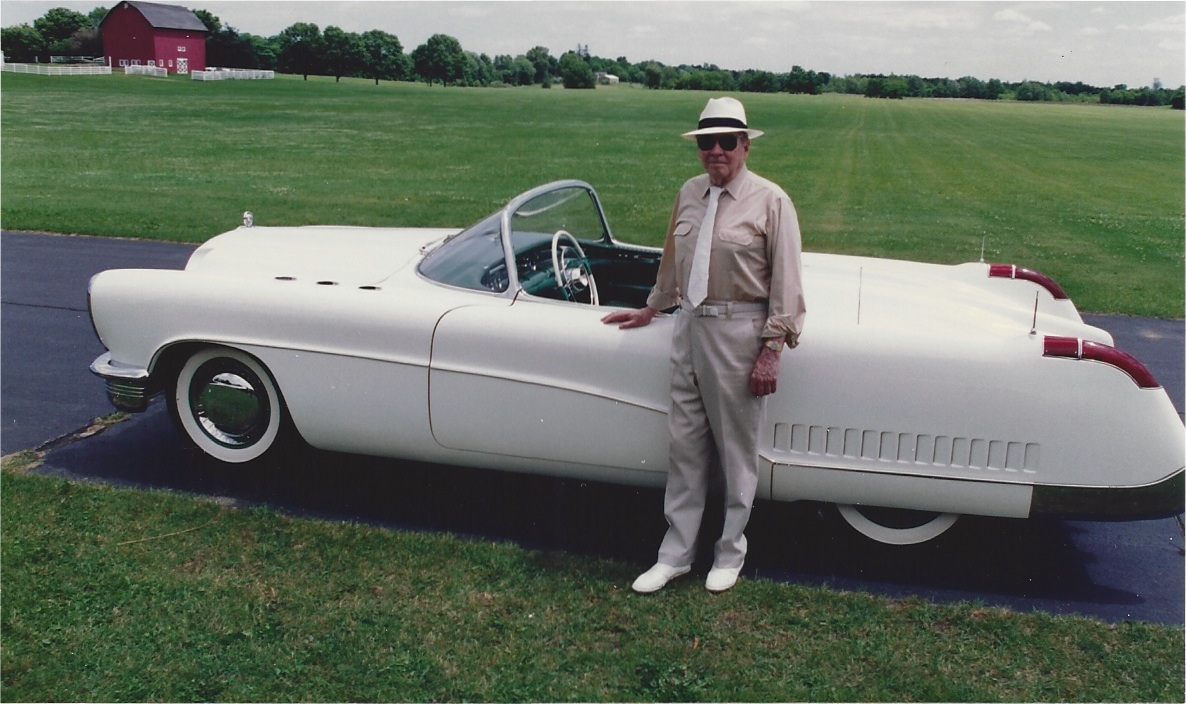 Henry Lauve with the 1953 Buick Wildcat Gilmore grounds circa 1992